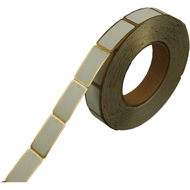 Label, Clothing label, Cardboard, Gold coloured rim, 42x25mm, white 1