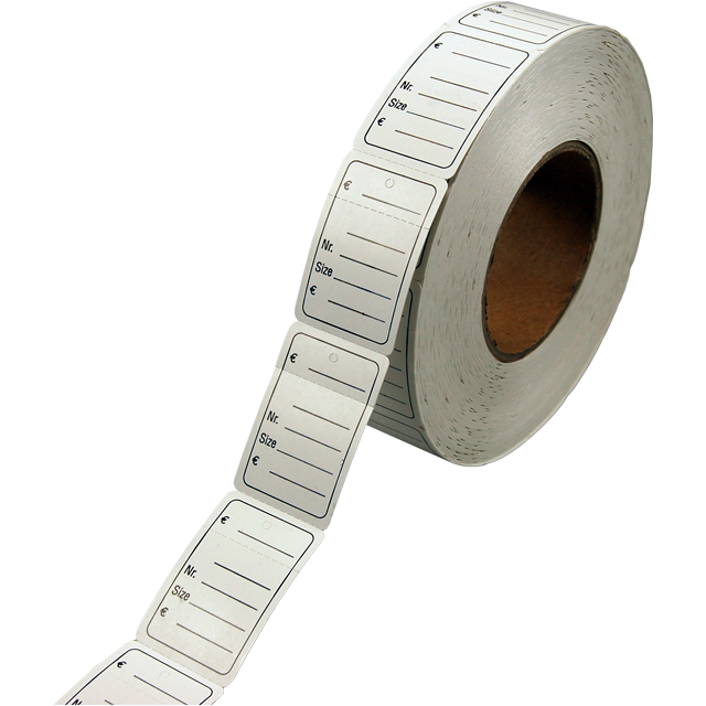 Label, Clothing label, Cardboard, Price/No./size, 60x40mm, white 1