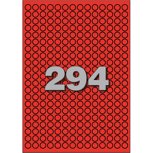 Avery Label, Paper, ∅8mm, red 1