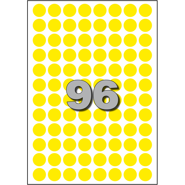 Label, Paper, ∅15cm, yellow 1