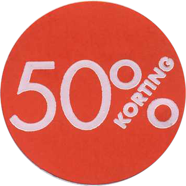 Label, Sale/Reduced label, Paper, 50% discount, ∅30mm, red 1