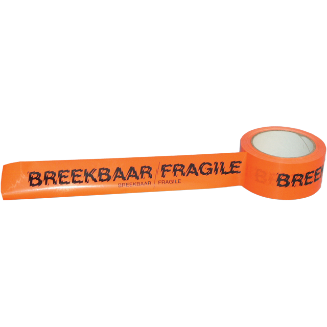 SendProof® Marking tape, breakable/fragile, PVC, 50mm, 66m, fluorescent Orange 1