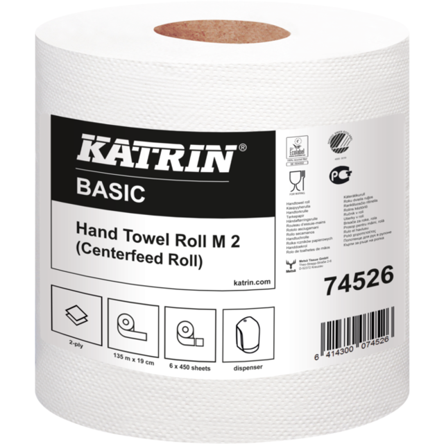 Katrin Cleaning paper, 2-ply, 19cm, 135m, white 1