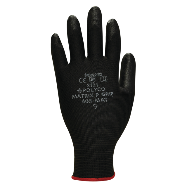 Polyco Glove, Nylon, XS, black 1