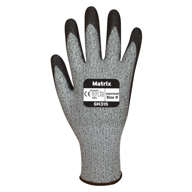 Glove, Cotton, cut level 5, XL, grey 1