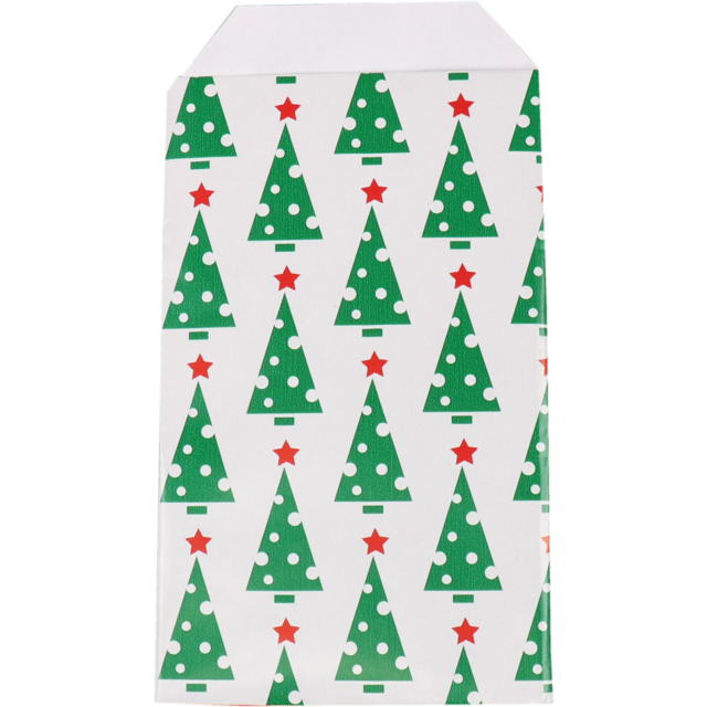 LOVLY® Bag, Gift bags, Paper, 7x13cm, Kerstboom, green/Red 1
