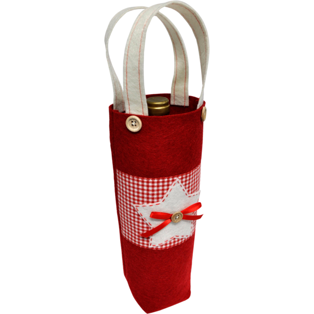 Bag, Ster/Kerstboom, Felt, 10x10x30cm, wine bottle bag, white/Red 1