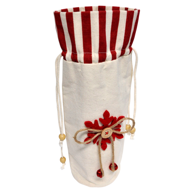 Bottle bag, Canvas, 15x30cm, Star, red/White 1