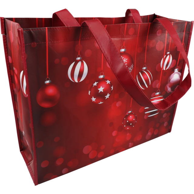 Bag, Sparkling Holidays, Non-woven, 45xSide fold 15x36cm, red/White 1