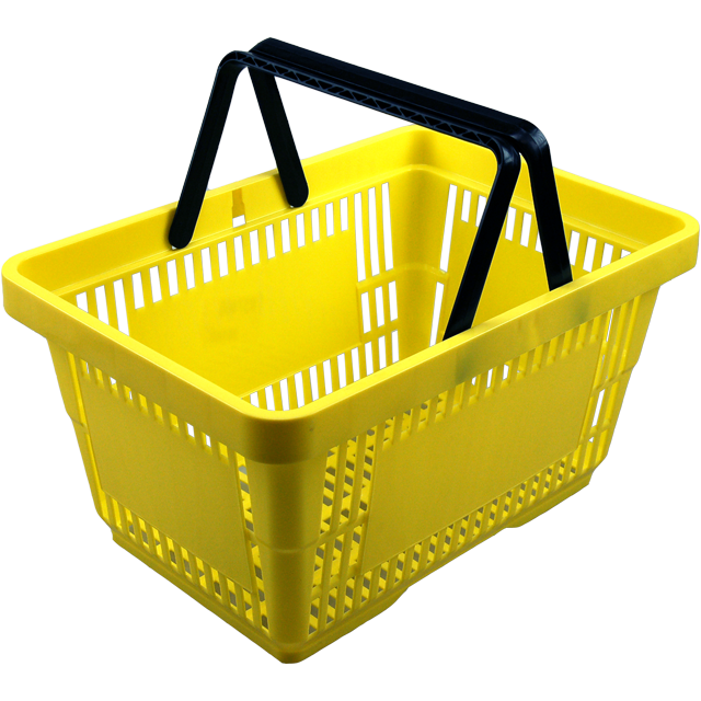 Shopping basket, plastic, yellow. 1