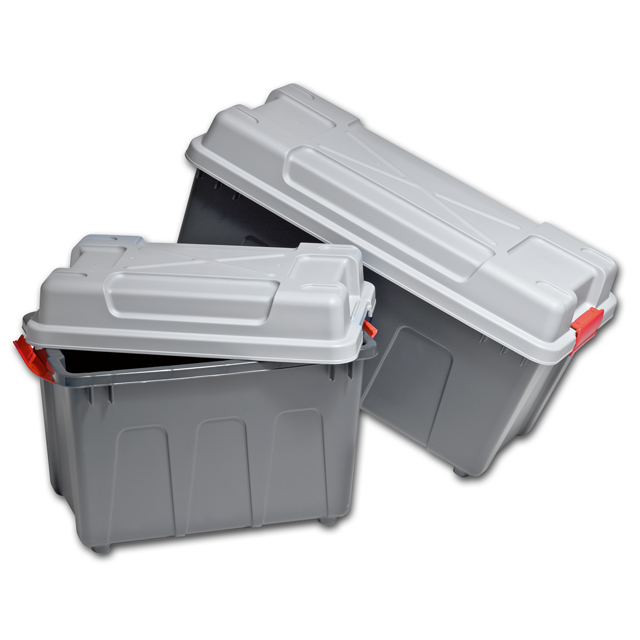 Container, Plastic, With handles, transport container, 530x340x380mm, petrol/Red 1