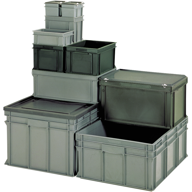 Container, Plastic, Closed, transport container, 600x400x220mm, grey 1