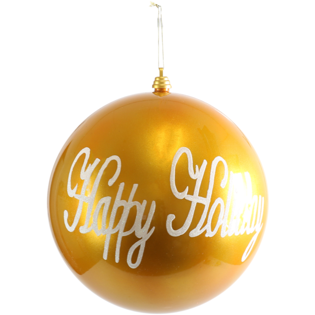 Kerstbal Happy Holiday 30cm goud/wit 1