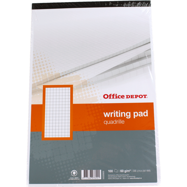 Office Depot Bloc-note, Papier, Quadrillé, A4, 210x297mm,  1