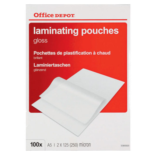Office Depot Laminiertaschen, PP, 148x210mm, A5, Transparant. 1