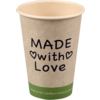 Coffee cup, Made with Love, bamboe/PE, 180ml, 7,5oz, 93mm, beige/Groen