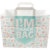 I'M a Concept Bag, I'M a SNACK, Kraft, flat paper handles, 32x17x25cm, snack carrier bag , white