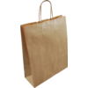 Bag, Gestreept kraftpapier, twisted-paper cord, 26x12x35cm, carrier bag, brown