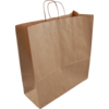 Bag, Gestreept kraftpapier, twisted-paper cord, 46x17x48cm, carrier bag, brown