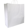 Bag, Gestreept wit kraft, twisted-paper cord, 45x17x48cm, carrier bag, white