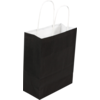 Bag, Gestreept wit kraft, twisted-paper cord, 18x8x22cm, carrier bag, black