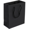 Bag, Art paper, deluxe bag with cord, 16x8x19cm, carrier bag, black