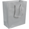 Bag, Art paper, deluxe bag with cord, 16x8x19cm, carrier bag, silver