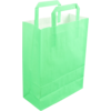 Bag, Wit kraft, flat paper handles, 22x10x28cm, paper carrier bag, groen/Flash