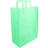 Bag, Wit kraft, flat paper handles, 26x12x35cm, paper carrier bag, groen/Flash