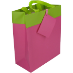 Bag, Art paper, deluxe carrier bag with ribbon, 16x8x19cm, carrier bag, fuchsia/Green
