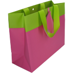 Bag, Art paper, deluxe carrier bag with ribbon, 25x10x20cm, carrier bag, fuchsia/Green