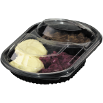 Container, PP, 2 compartment, meal tray, 238x203x38mm, black