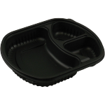 Container, PP, 3 compartments , meal tray, 238x203x38mm, black