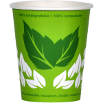 Bio hot cup, Enjoy the World, Cardboard and PLA, 150ml, 6oz, green