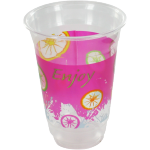 Glass, soft drink glass, PET, 400ml, pink/Transparent