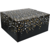 Gift box, Party spot on, Corrugated cardboard, 35x31.5x17cm, b, silver/Gold/Black