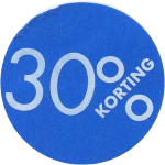 Label, Sale/Reduced label, Paper, 30% discount, ∅30mm, blue