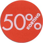Label, Sale/Reduced label, Paper, 50% discount, ∅30mm, red