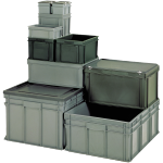 Container, Plastic, Closed, transport container, 600x400x120mm, grey